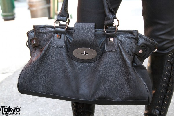Black Leather Handbag in Harajuku