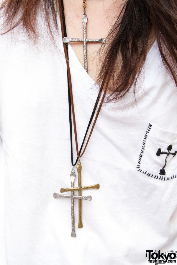 Embroidered cross & cross necklaces