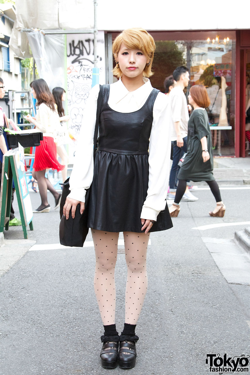 Black leather Nadia dress & white dress shirt