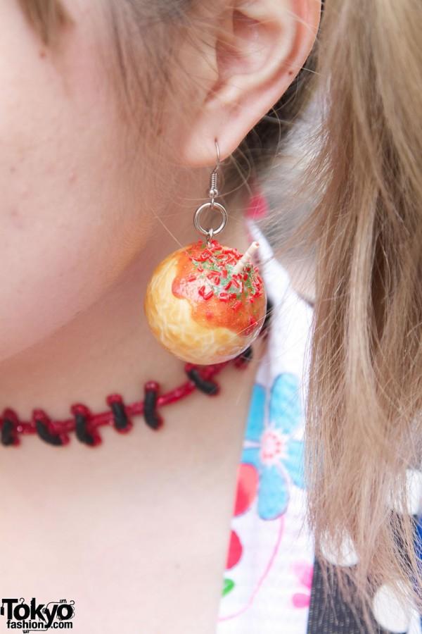 Handmade earring & bead choker