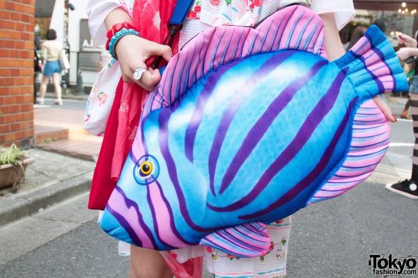 Tropical fish tote bag in Harajuku