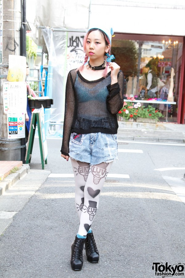 Avantgarde Harajuku Staffer's Pink Braids, Luv/Hate Tights & Boots