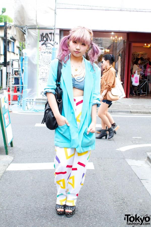 Pink Hair, Studded Glad News Shoes & Gyda Tube Top in Harajuku