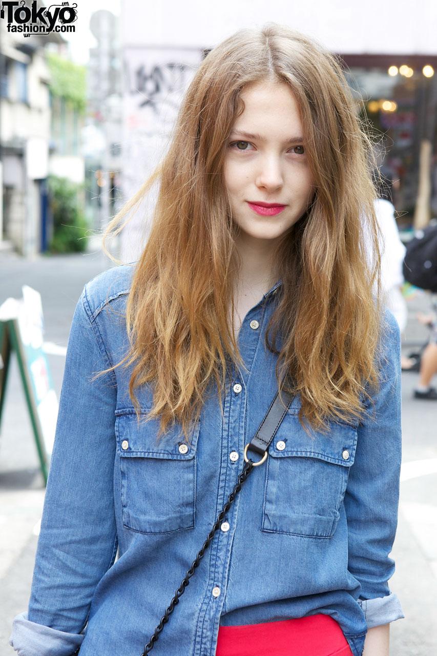 Canadian Fashion Model Ivy W/ Denim Shirt & Boot In Harajuku