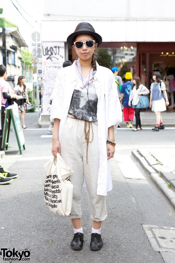 Straw Fedora, Abbey Road T-Shirt & Ne-net Overshirt
