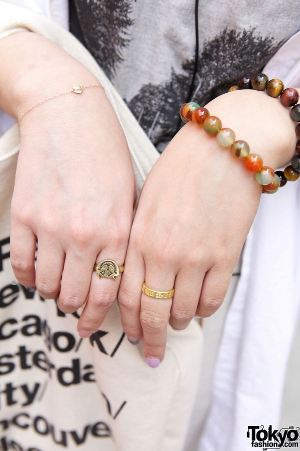 Gold rings & beaded bracelets