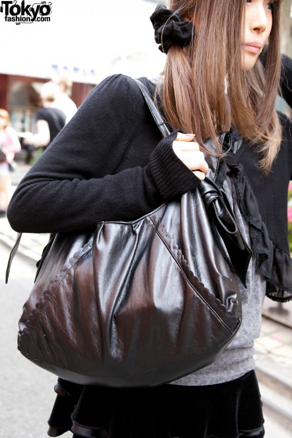 Goth girl's large black purse