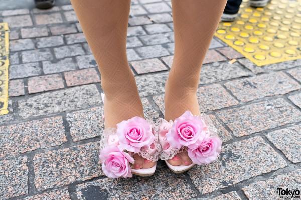 Hime Gyaru Flower Shoes in Shibuya