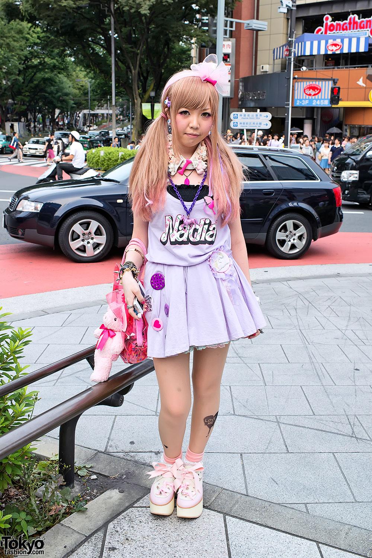 Teddy Bear Necklace, Nadia Harajuku Dress & Spiked Tokyo
