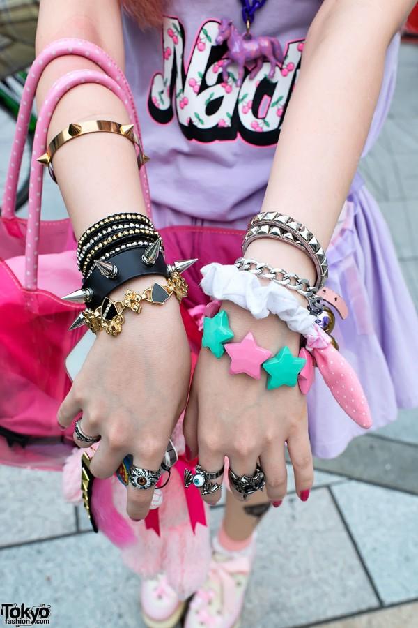 Spike Bracelets & Cute Stars in Harajuku
