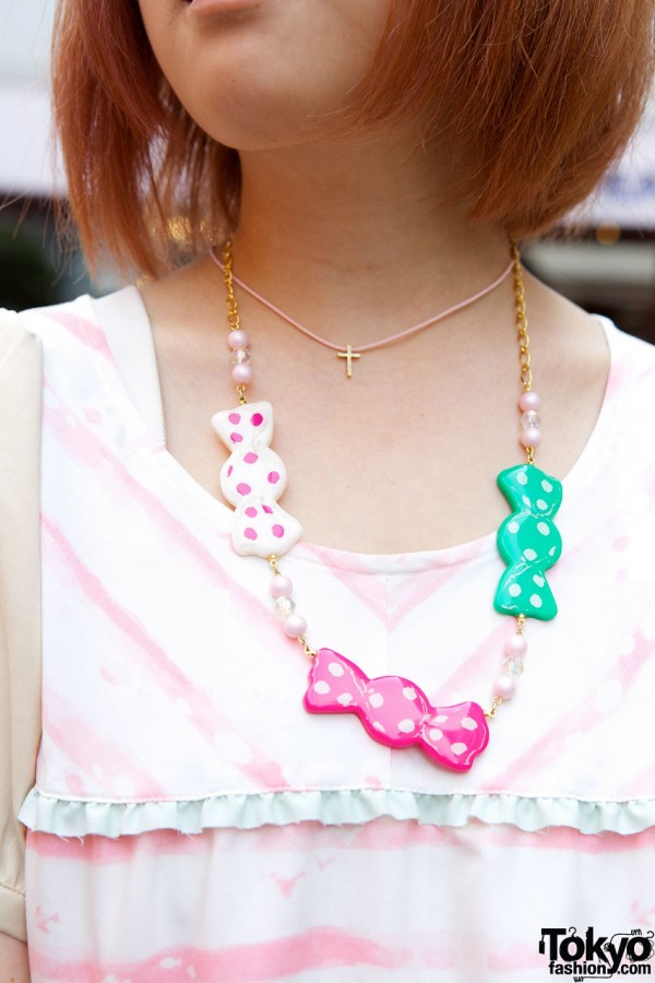 Plastic candy medallion necklace