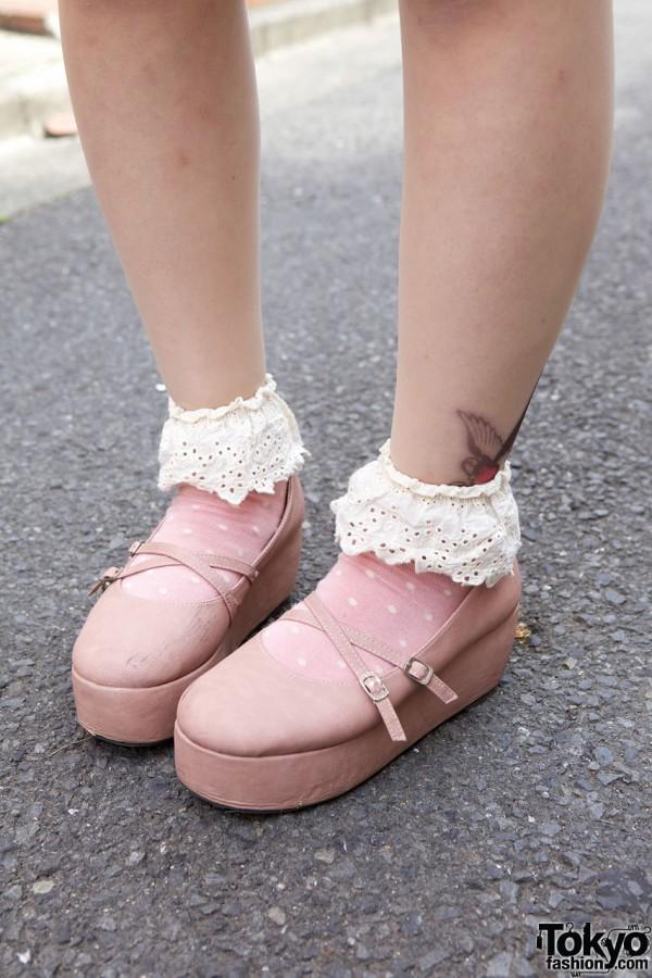 Laforet platform shoes w/ ruffled socks