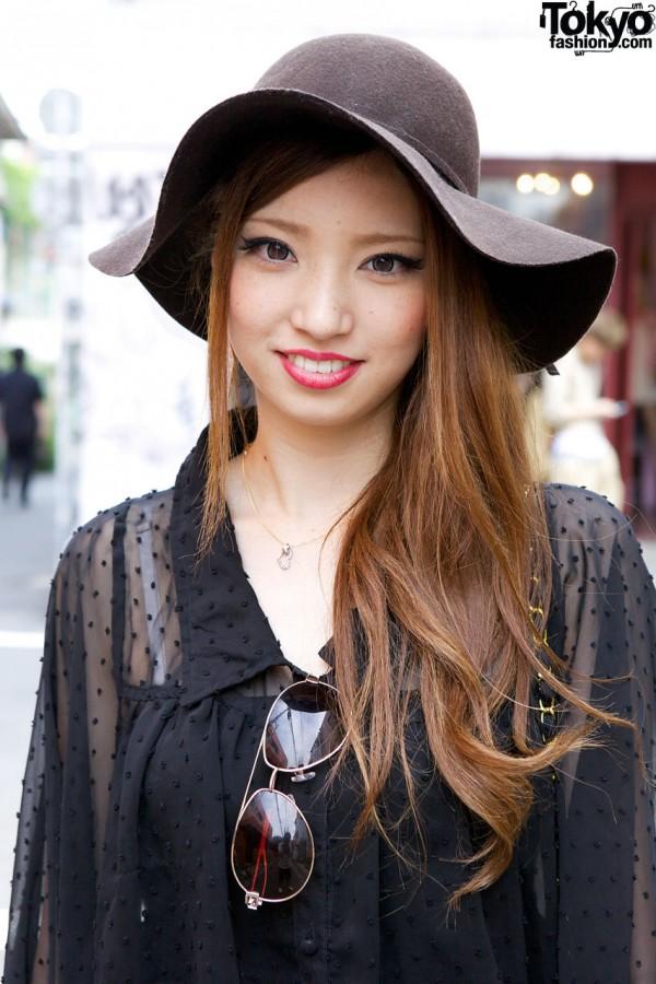 Harajuku girl in floppy felt hat