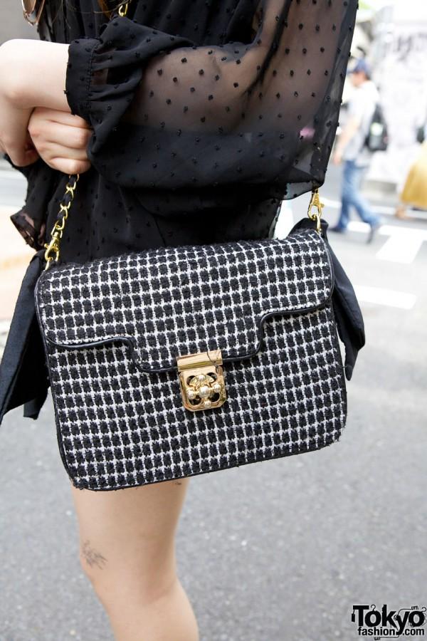 Woven checkerboard purse