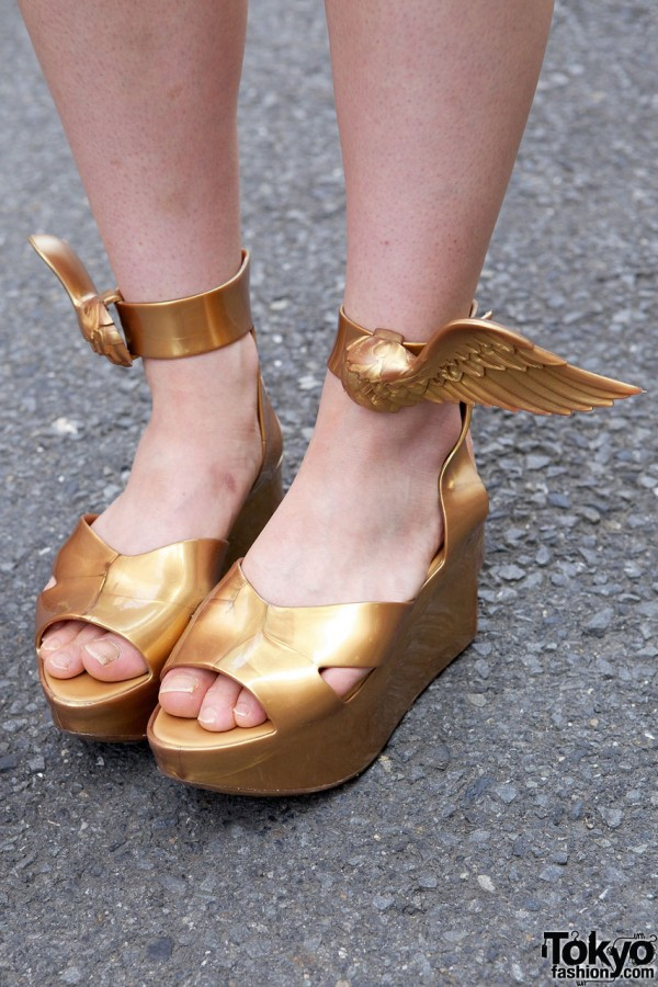 Gold Vivienne Westwood x Melissa Wing Shoes