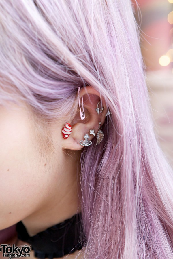 Juria's Pink Safety Pin Earring