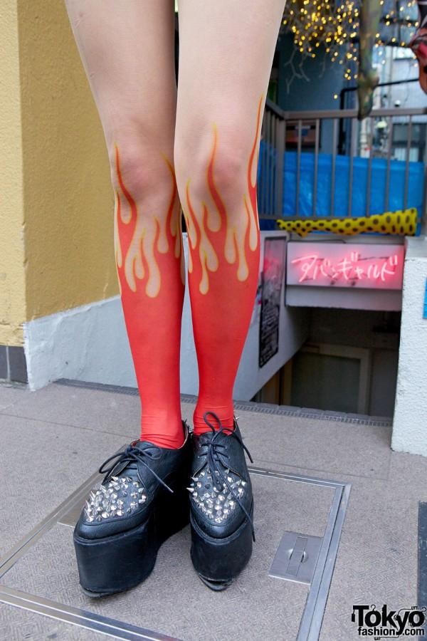 Avantgarde Harajuku Flame Tights