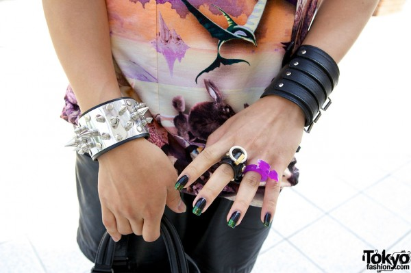 Spiked silver cuss & leather wristband