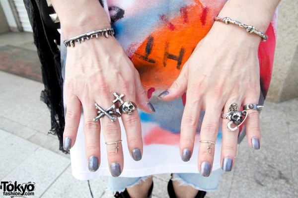 Silver Skull & Cross Alice Black Rings