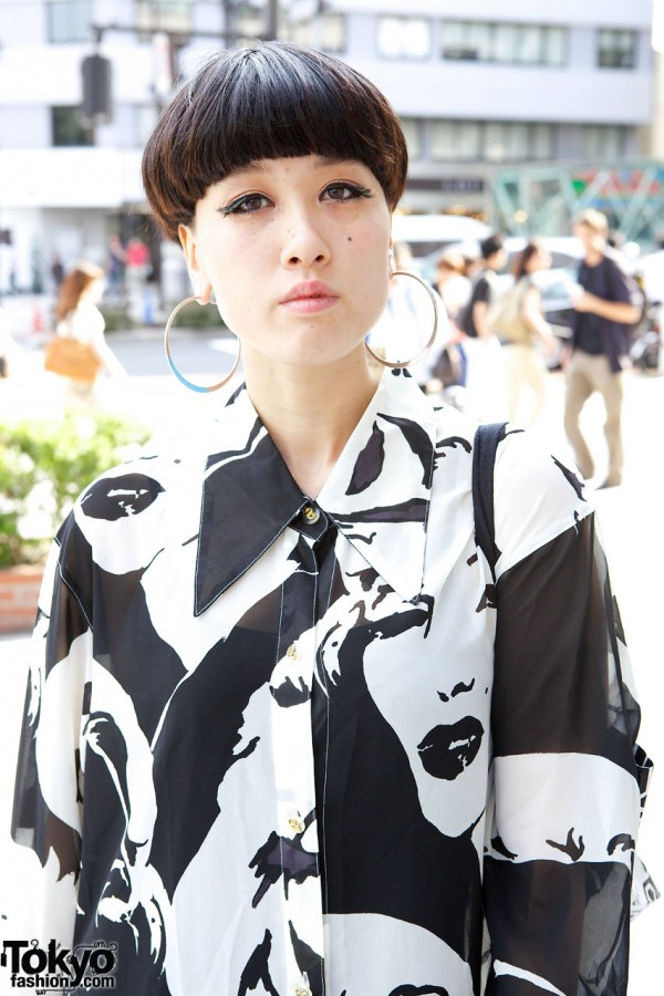 Vintage Graphic Top & Cool Short Hairstyle