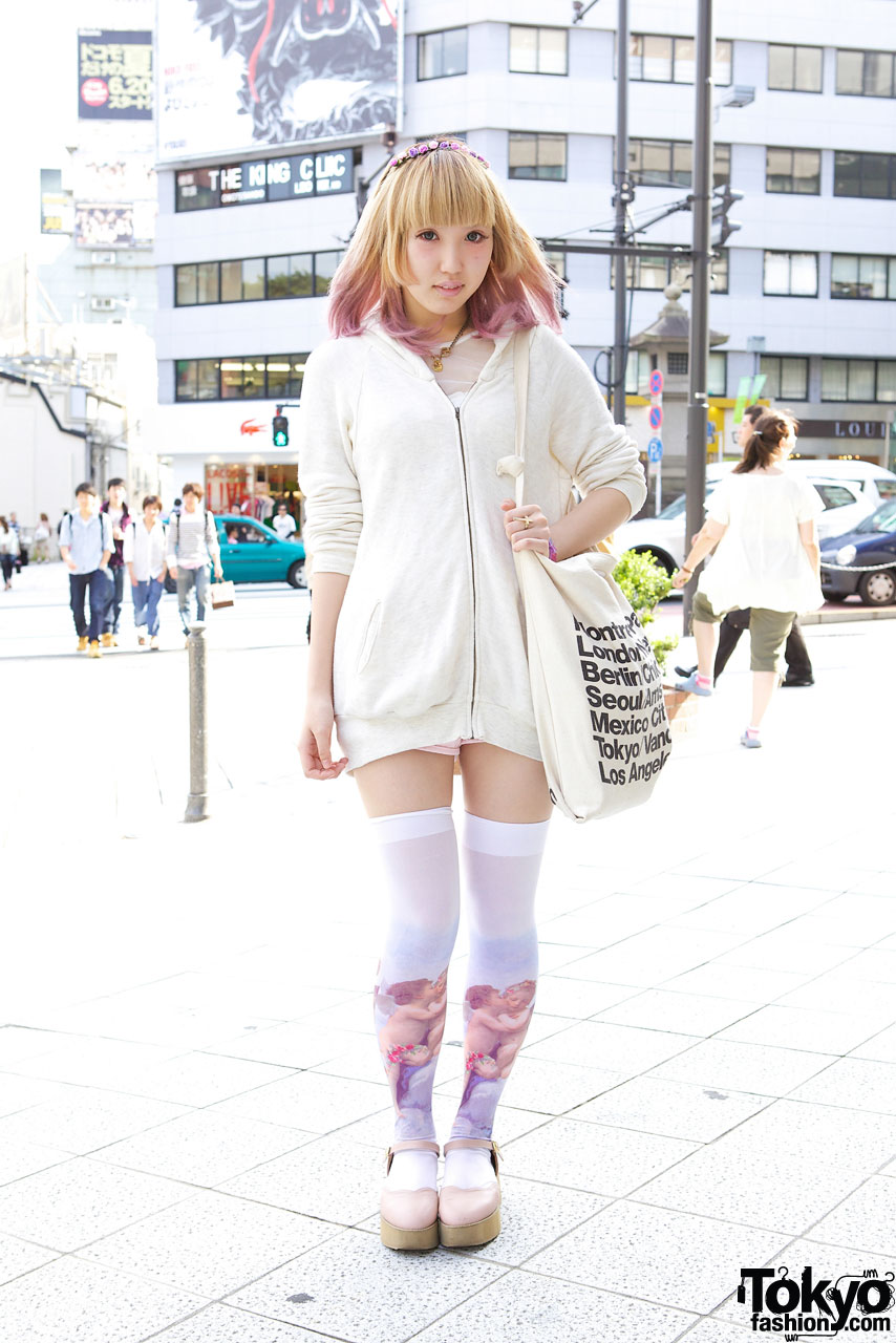 Cutout Hoodie Pink Tipped Hair Amp Graphic Thigh Highs In