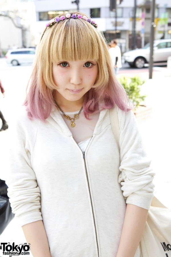 Cute Pink-Tipped Hair in Harajuku