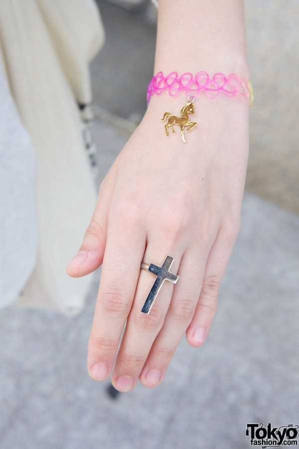 Cross Ring & Tattoo Bracelet