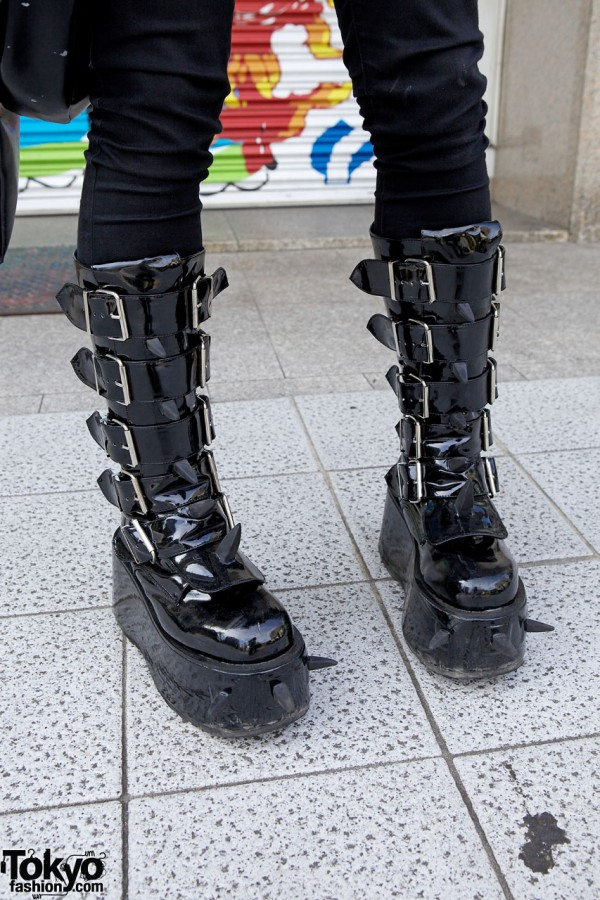 Demonia Spike Platform Buckle Boots