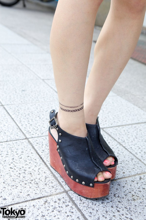 Murua studded leather platform shoes