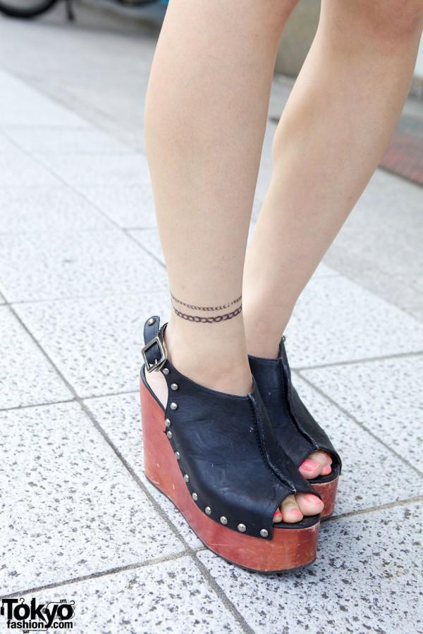 Murua studded leather platform shoes