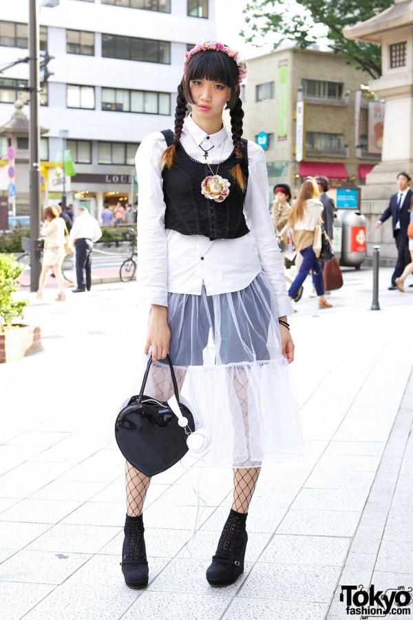 Aris Mukaide in Harajuku w/ Braids, Sheer Skirt & Vintage Pocket Watch Necklace