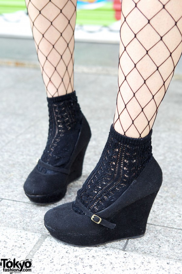 Suede Wedges & Fishnet Stockings