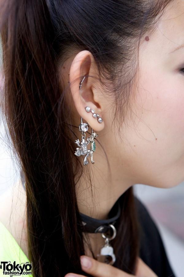 Silver & rhinestone frog & lizard earrings