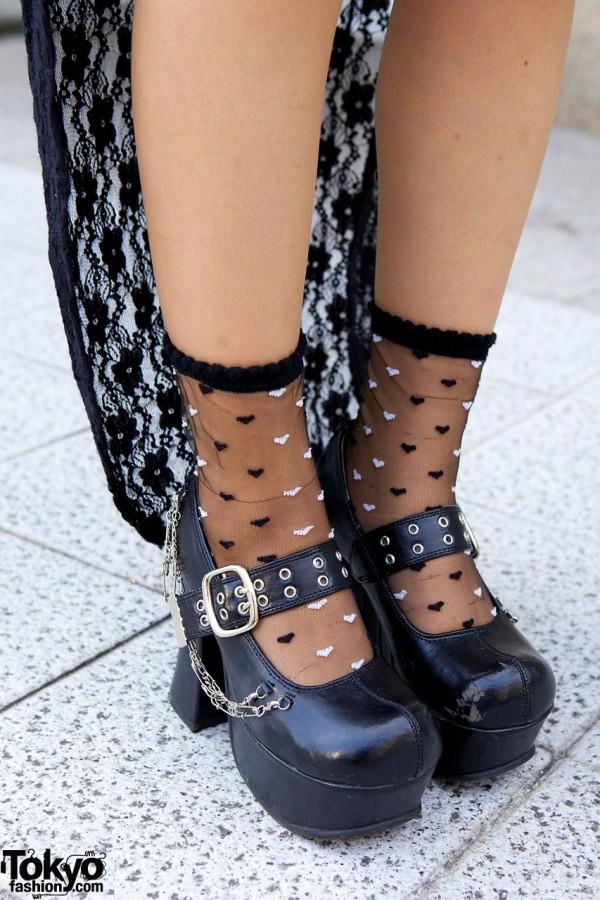 Sheer socks & chain embellished platform pumps