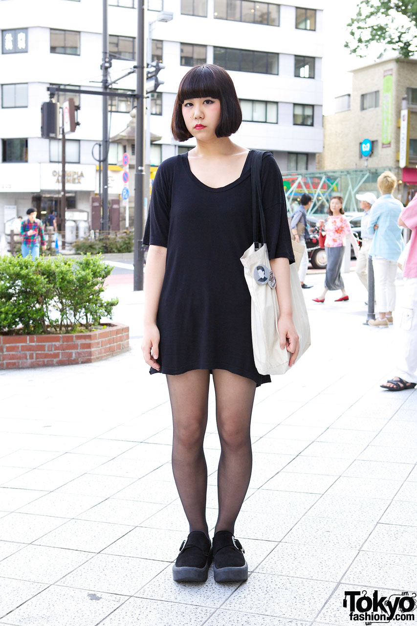 Basic black style from american apparel tokyo bopper for T shirt dress outfit tumblr