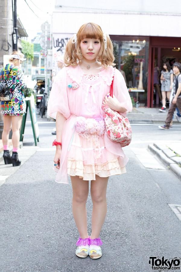 Harajuku Girl's Pretty Pink Kinji Robe, Ruffled Skirt & Strawberry Shortcake Bag