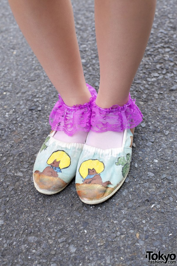 Hand painted shoes w/ lacey socks