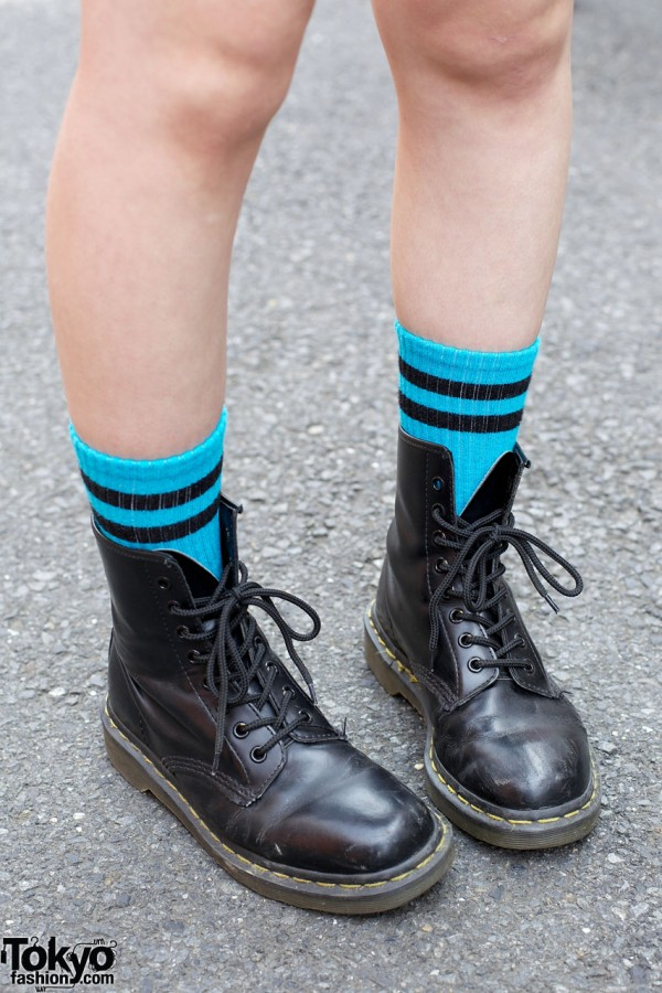 Turquoise socks & Dr. Martens boots