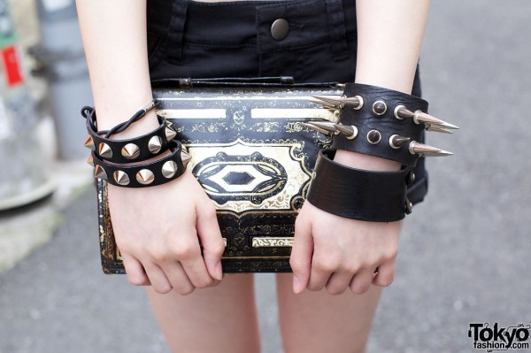 Spikes, Studs and Vintage Leather Clutch