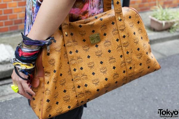 Tan MCM handbag in Harajuku