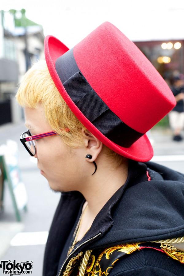 Red Felt Hat in Harajuku