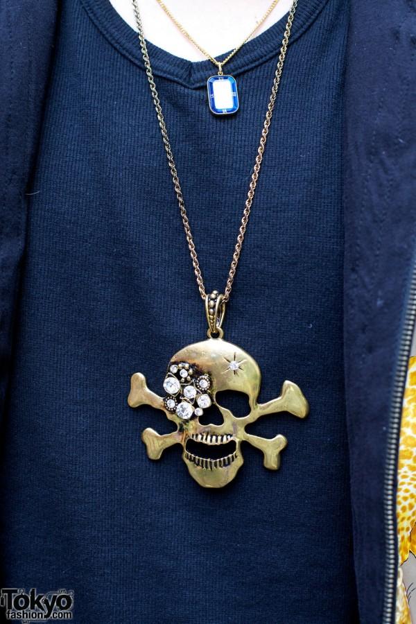 Jeweled Skull Necklace