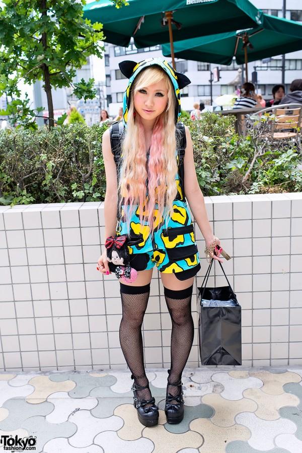 "Pink Hair, JSG Hoodie & Monchhichi at Lady Gaga's ""Fame"" Perfume Launch in Harajuku"