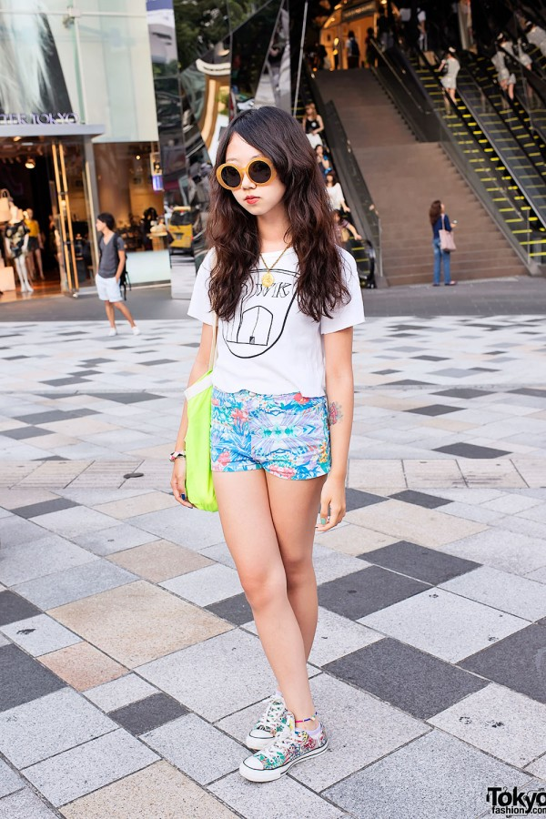 Mayupu's Summer Harajuku Style w/ Sunglasses, Floral Shorts & Chucks