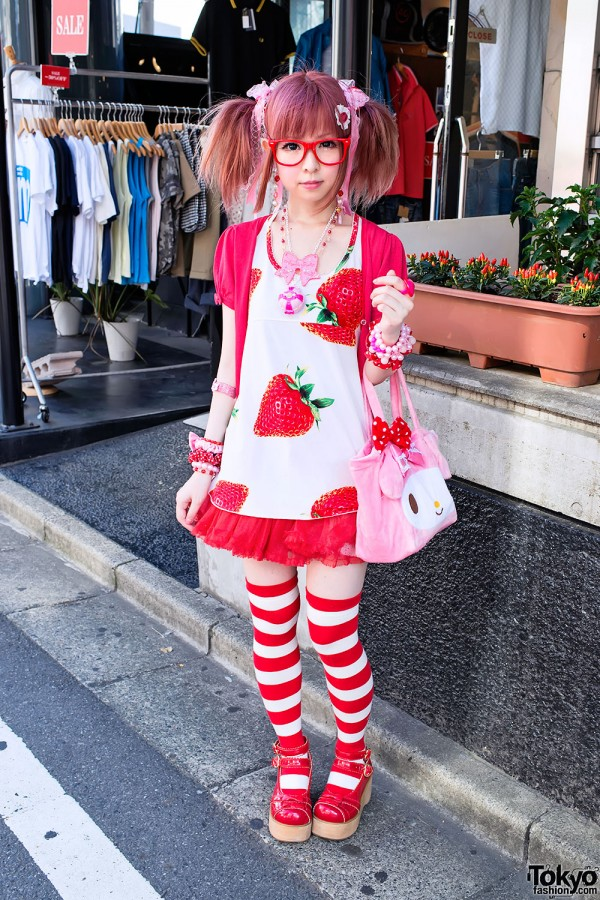 Cute Moco Strawberry Style in Harajuku