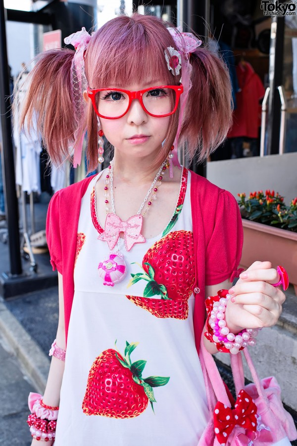 Pink Hair & Red Glasses in Harajuku