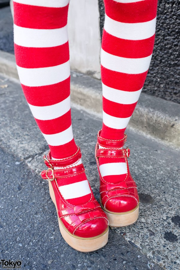 Striped Socks & Platforms in Harajuku