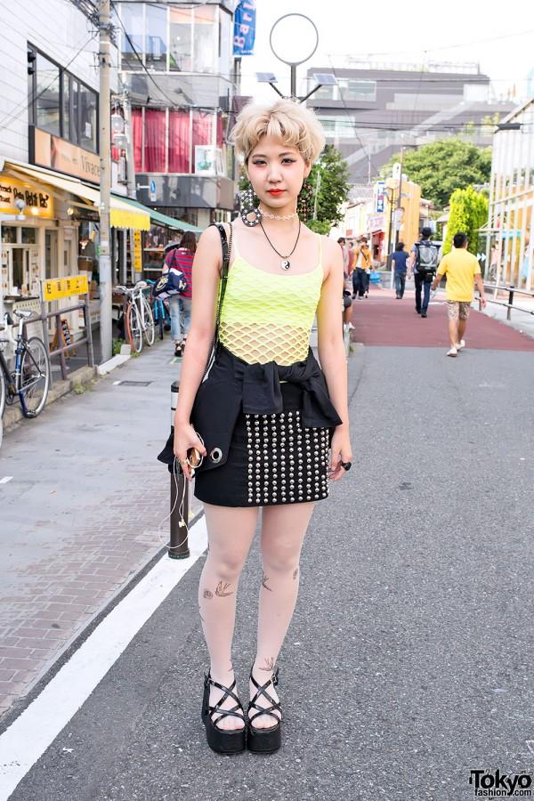 Studded Skirt & Fishnet Top in Harajuku