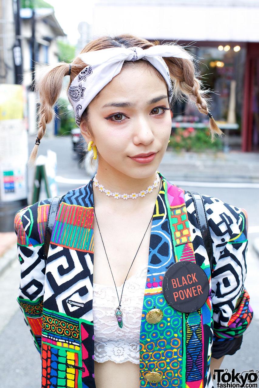 Japanese Model Una W Vintage Fashion Cute Hairstyle In Harajuku