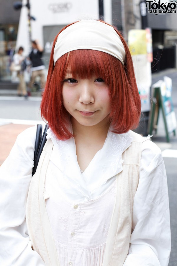 Red-hair & wide white hairband